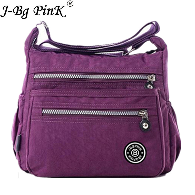J-BG PinK Women Messenger Bags Nylon Canta Shoulder Bags Handbags Famous Brands Designer Crossbody Bags Female Bolsa sac a Main zobokela women messenger bags female 2018 crossbody bags for women leather handbags women shoulder bags famous brands bolsa