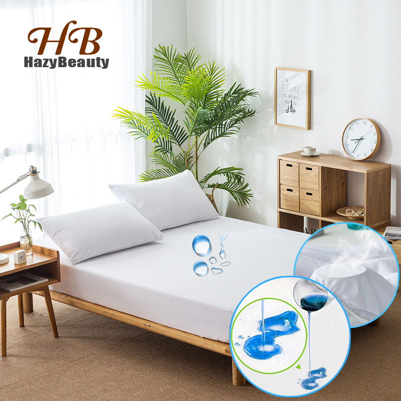 Russian All Size Cotton Terry Matress Cover 100% Waterproof TPU Mattress Protector Cover For Bed Pad Antibacterial Bed Cover
