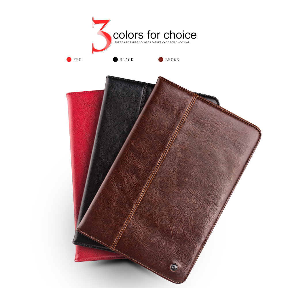 2015 QIALINO luxury smart stand flip cover for iPad mini 4 case,Automatic wake up & sleep function,Genuine leather sgl luxury ultra smart stand cover for ipad air 1 ipad5 case luxury pu leather cover with sleep wake up function for ipad air1