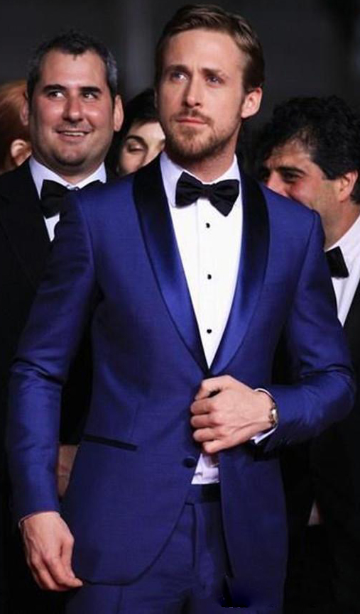 (Jacket+Pants)2019 Classy Custom Made Blue Mens Wedding Suits Two Pieces Slim Fit Groomsmen Tuxedo Cheap Prom Suit Costume Homme
