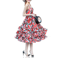 temperament summer sets model of condole belt of tall waist printing cake WeChat free agent a undertakes to dress