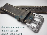 High quality handmade strap Vintage Maya buckle carved buckle 22mm Grey leather strap For Brand watch + Send tool