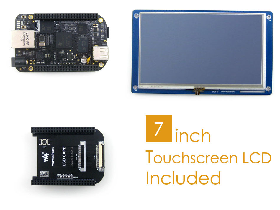 BB Black (BeagleBone Black) Package D ARM Cortex A8 1GHz 512MB DDR3 Support Linux + LCD Cape + 7inch Resistive Touch LCD module waveshare lcd cape 7inch expansion board for beaglebone black board supports 7inch resistive touchscreen lcd