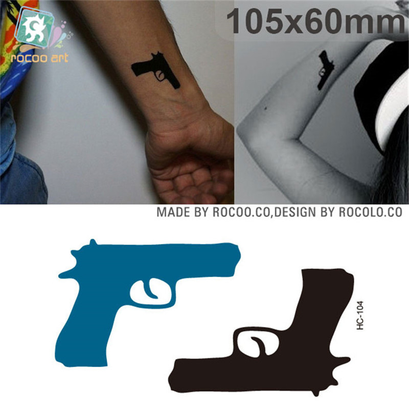 Body Art Waterproof Temporary Tattoos For Men Boy 3d Punk Pistol Design Flash Tattoo Sticker Free Shipping HC1104