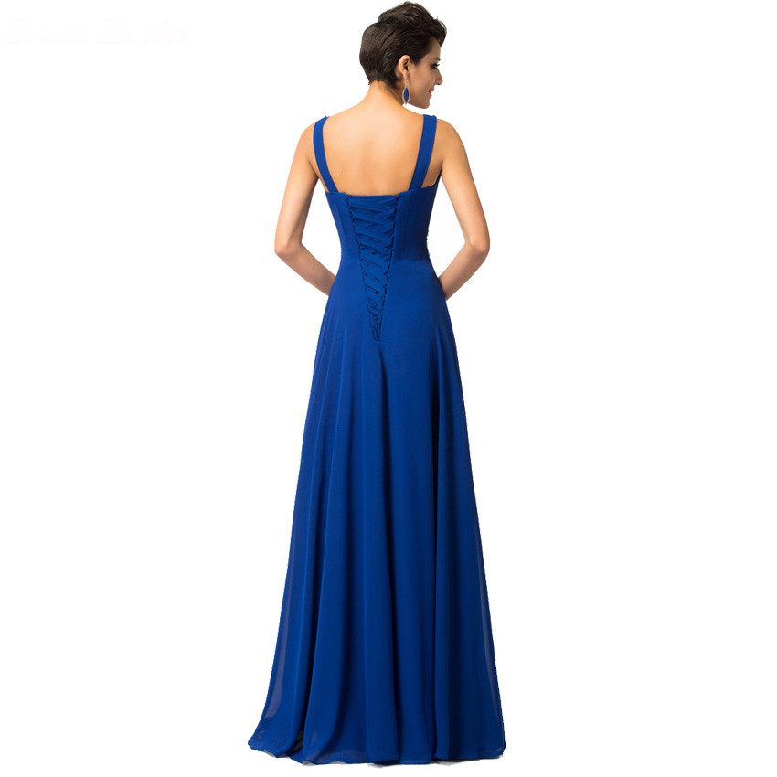 Pretty Floor Length Blue Bridesmaid Dress