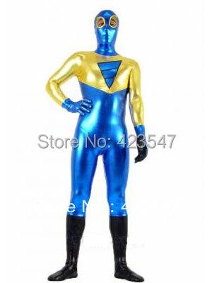 Yellow and Blue Shiny Metallic Unisex Zentai Suit  Halloween Party Costumes-Zentai