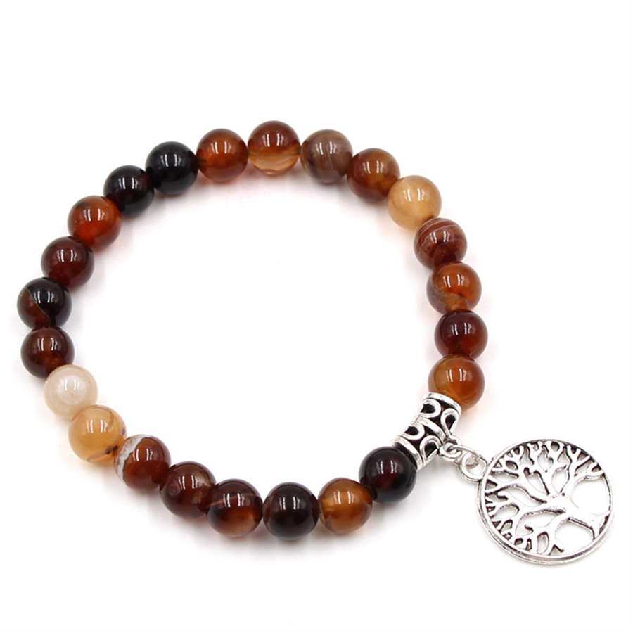 HOBBORN Trendy Life Tree Chakra Bracelet Women Men 8mm Natural Map Tiger Eye Picture Stone Beads Handmade Strand Charm Bracelets in Charm Bracelets from Jewelry Accessories