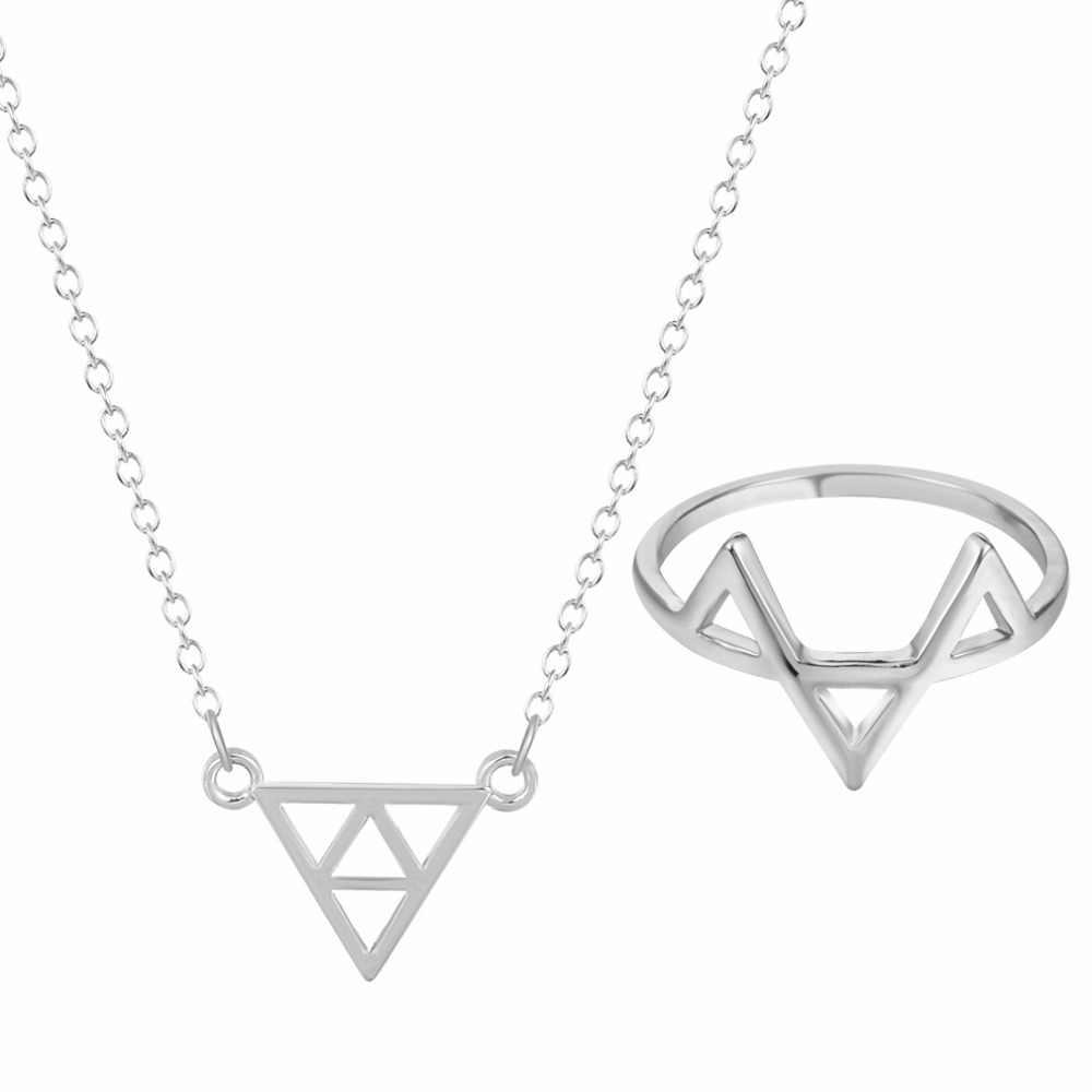 Chandler Anel Colar de Pingente de Triângulo Para As Mulheres Chapeamento de Prata da Cor do Ouro Da Liga Na Moda Geométrica Casual Simples Conjunto de Jóias
