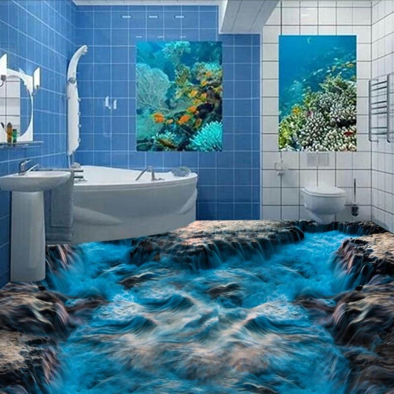 Free Shipping Blue ocean waves 3D flooring sticker painting kitchen office studio decoration wear floor mural цены онлайн