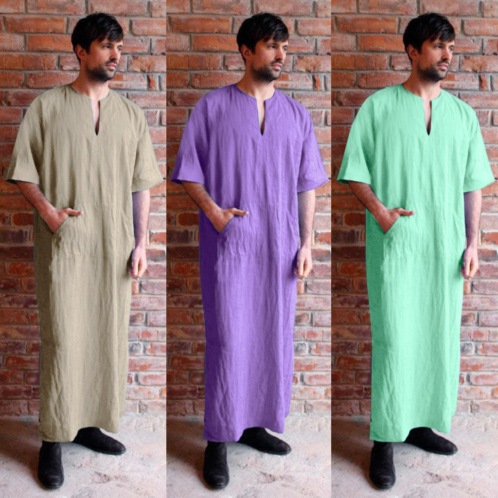 220ae211f00 2019 INCERUN Men Robe Dress Kaftan Autumn Full Length Long Sleeve Jubba  Thobe Camisas Masculina Saudi Arabia 5XL Muslim Clothes