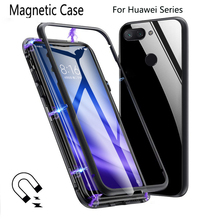 Metal Magnetic Case for Huawei P30 Pro Adsorption Glass Cover Mate 20 V20 P20 Nova4 8X Max
