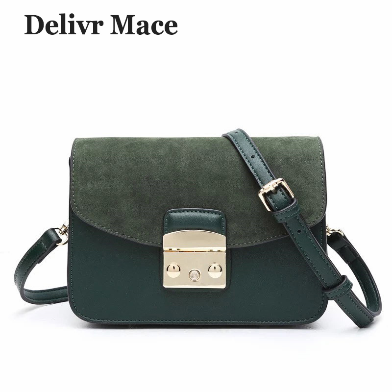 2018 New Arrival Women's Crossbody Bags Solid Scrub Leather Women Shoulder Bag Small Flap Suede Bag Messenger Bags for Girls etaill 2018 winter women classic scrub box leather messenger bag female crossbody small flap bags famous stewardess shoulder bag