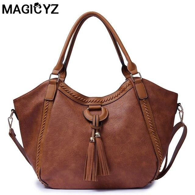 3ca4708c5328 Aliexpress.com : Buy Luxury Retro Women Shoulder Bag Soft Leather Top  Handle Bags Ladies Tassel Tote Handbag High Quality Women's Handbags from  ...