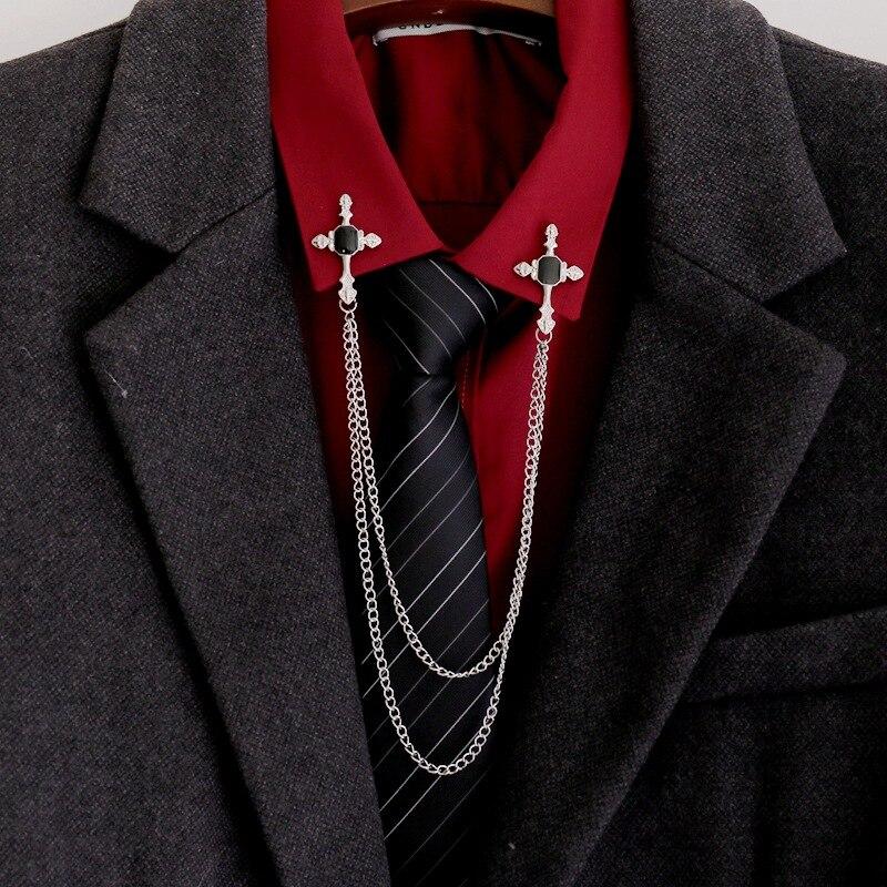 Винтажные Стразы, брошь в виде креста, кардиган, рубашка, воротник, булавки, броши, цепочка, брошь с кисточкой, Мужская брошь с отворотом, женская бижутерия, подарок|Броши|   | АлиЭкспресс