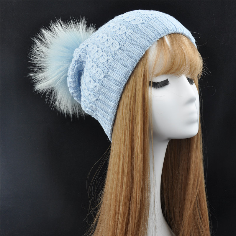 Winter Real Fur Pom Pom Beanie Hat for Women Big Natural Raccoon Fur Ball Cap Warm Lining Skullies Beanies Hat With Fur Pom Pom lanxxy winter real fur ball beanie hat for women fluffy raccoon fur pom poms skullies beanies hat with 2 fur pom pom girls cap