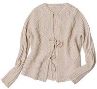 Высокого качества 100% козья кашемир Витая Вязать Женская мода на шнуровке короткие свитер Oneck полный рукав M/L