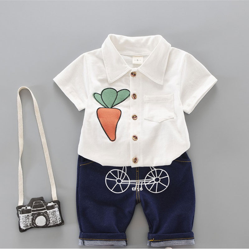 Clothes Suits Children Baby Boys Summer Clothing Sets Cotton Kids Child Short Sleeve Tops T Shirt+ Pant 2Pcs Outfits