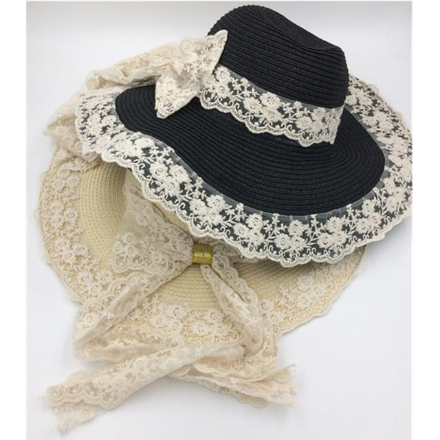 0015a472ba2 New Summer Women Floppy Straw Sun Hat With Lace Bow Wide Large Brim Lace Caps  Fashion Beach UV Protection Hats