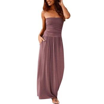 цена на Women's Vestidos Verao Bandeau Holiday Off Shoulder Long Dress Ladies Autumn Solid Maxi bodycon Dress vestidos femininos #2