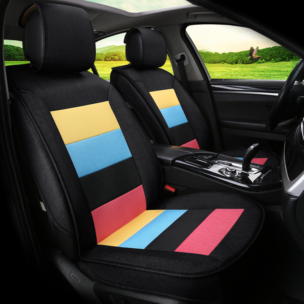 7PCS  Universal Automobiles Seat Covers Wearable Breathable Linen Fabric Car Seat Cover Car Interior Accessories
