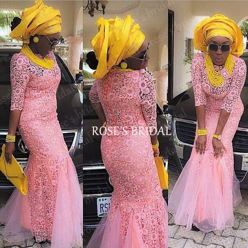 Robe de soirée africaine 2016 pas cher rose dentelle robes de soirée à  manches longues élégant