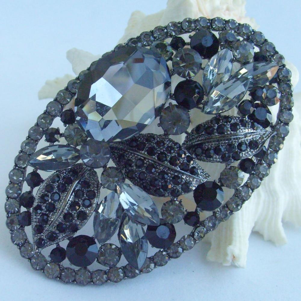 Бижутерия Черный, серый цвет Украшенные стразами, Каплевидная форма, цветок, брошь с застежкой, EE04908C6