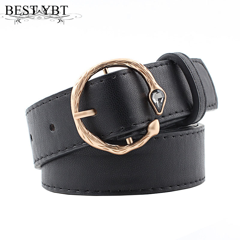 Best YBT Women Belt Imitation Leather Alloy Pin Buckle Belt New Personality Inlaid Gemstone Buckle Belt Students Retro Wild Belt