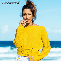 FREE OSTRICH Autumn Winter Women Sweater Sexy Waist Tie Lace Up Tunic Knitted Top Female Casual