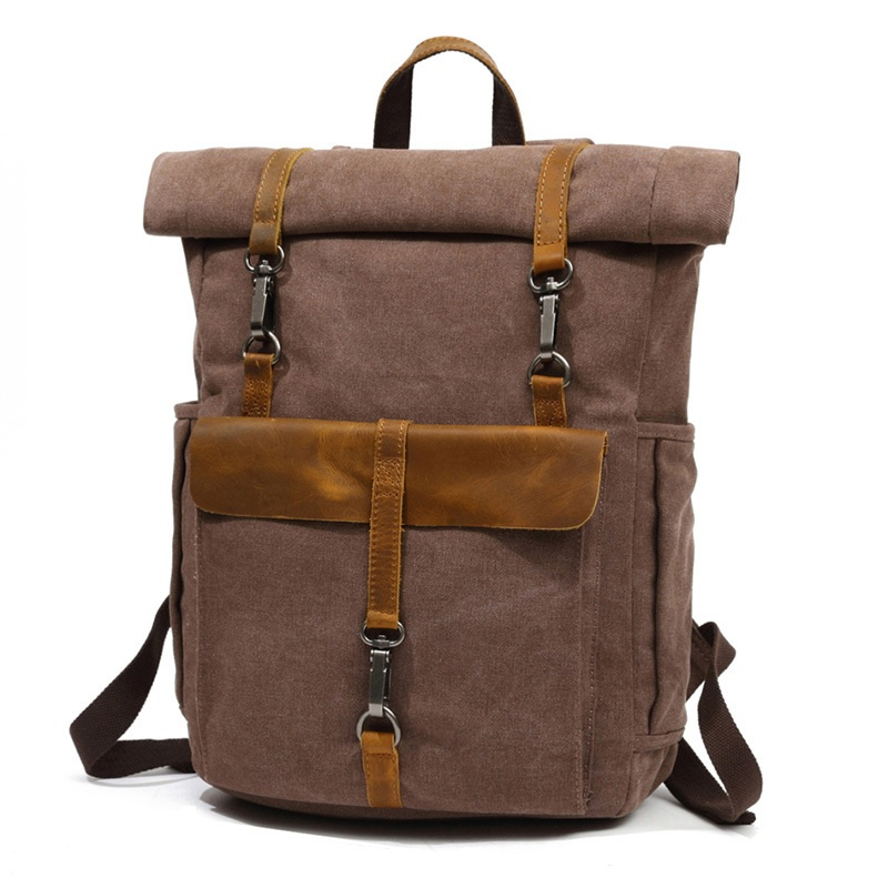 YUPINXUAN Europe Fashion Canvas Leather Backpacks 14 Laptop Daypack for Traveling Teenager Back Pack Student Computer