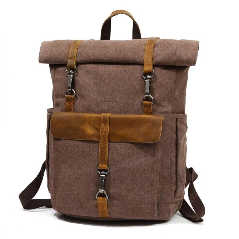"""Bagaj ve Çantalar'ten Sırt Çantaları'de YUPINXUAN Avrupa Moda Tuval Deri Sırt Çantaları 14 """"Laptop Sırt Çantası Seyahat için Genç Sırt çantası Öğrenci Bilgisayar Sırt Çantaları'da  Grup 1"""
