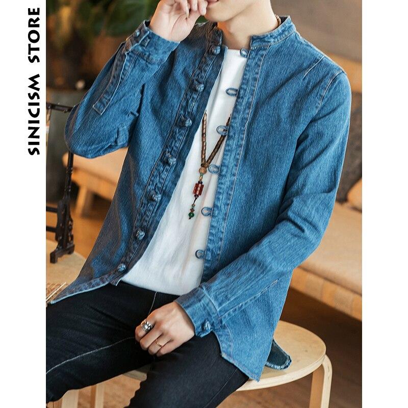 Sinicism Store Jean vestes hommes Demin veste rétro hommes solide homme Streetwear Style chinois Fahions bouton coupe-vent 2019