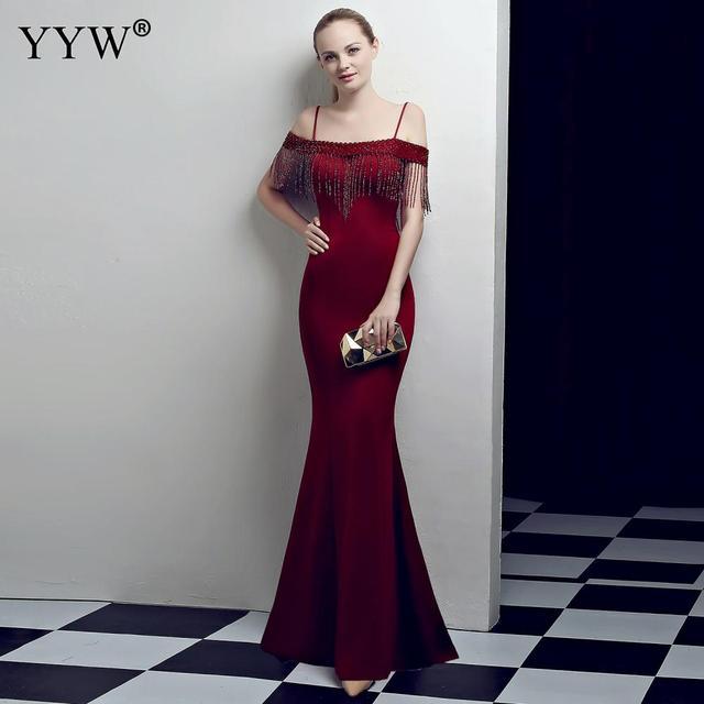 赤ビーズタッセルロングマーメイドドレス夏の女性のオフショルダーフォーマルガウンスパゲッティストラップエレガントクラブパーティードレス