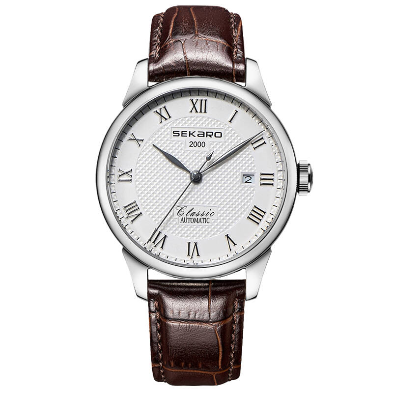 SEKARO 6028 Switzerland watches men luxury brand Le Locle classic watch automatic mechanical Willow shaped brown Genuine Leather плеер cowon iaudio plenue d 32gb silver black