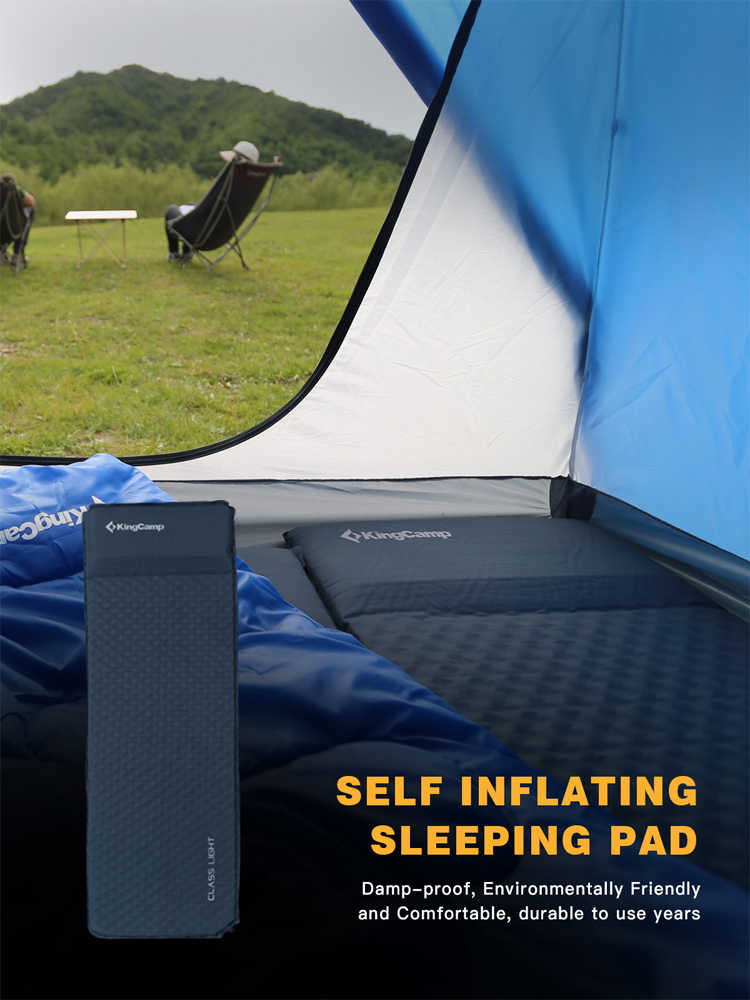 KingCamp себя надувать туристический коврик Сверхлегкий Прочный Матрас Оксфорд ПВХ коврик для кемпинга Пеший Туризм 183 х 51 х 2,5 см