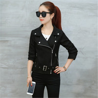 2017 New Women Short Motorcycle Suede Jacket Zipper Pockets Sexy Punk Coat Ladies Spring Autumn Casual