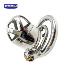 FRRK Stainless Steel Stealth Lock Male Chastity Device with Cock Cage Virginity Penis Ring Belt adult game