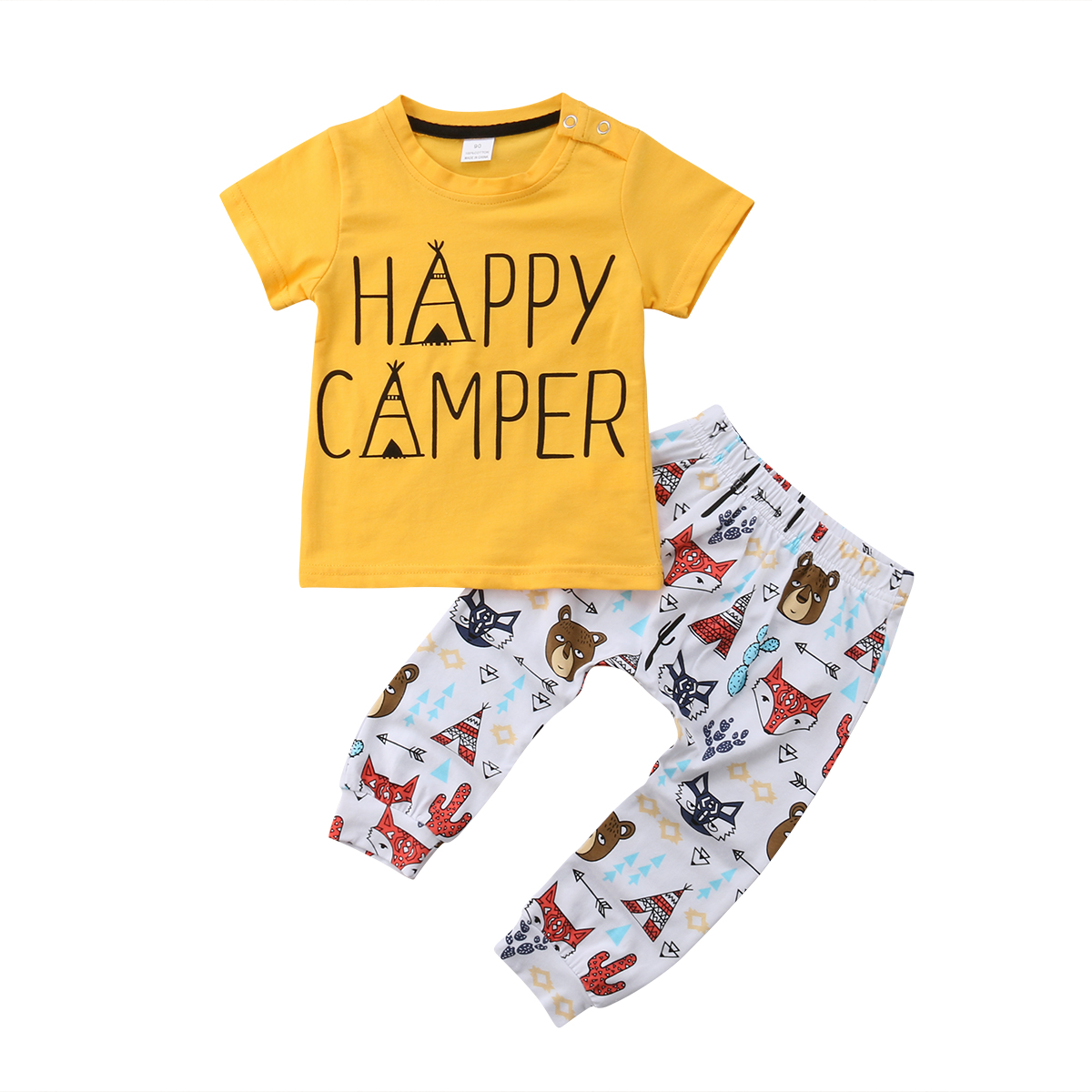 Casual Toddler Kids Boys Happy Camper Tops T-shirt +Cartoon Printed Pants 2Pcs Outfit Set Kid Clothes