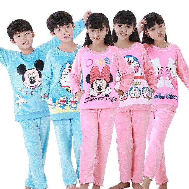 75a1a9a6b1 2019 new Winter Children Fleece Pajamas Warm Flannel Sleepwear Girls  Loungewear Coral Fleece Kids pijamas Homewear Boys Pyjama Z