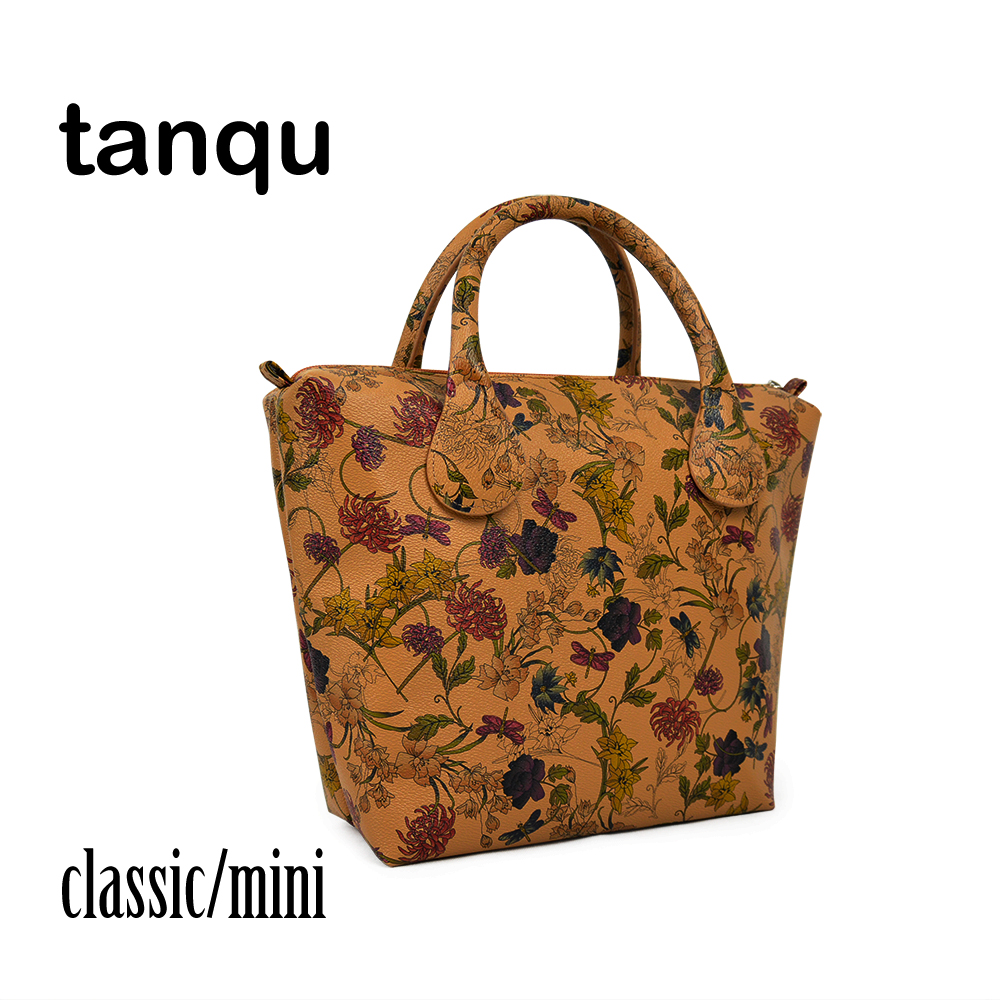 tanqu Insert Inner Pocket Plus Handle for Classic Mini Obag Waterproof Faux PU Leather Floral O Bag Women Handbag tanqu new mini floral print pu leather lining waterproof insert zipper inner pocket for mini obag eva o bag women handbag