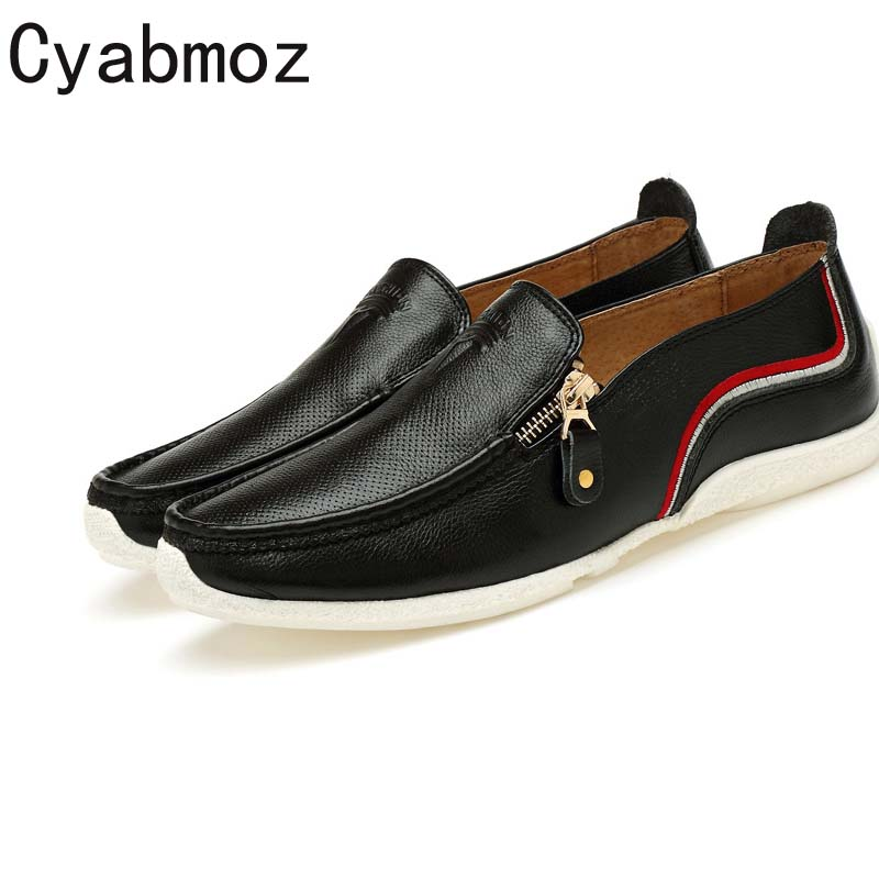 Cyabmoz Brand Genuine Leather Handmade Men Loafers 2017 Mens Slip On Boat Shoes Fashion Zipper Casual Moccasins Men Driving shoe cyabmoz brand new breathable vintage crocodile pattern genuine leather moccasins men casual shoes loafers flats slip on zapatos