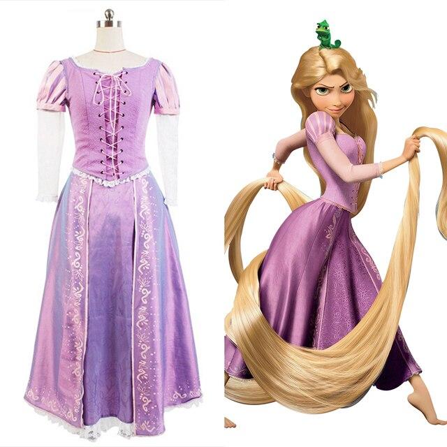 Fiesta Para Vestido Película Adulto Mujer Graduación Completo Traje Cosplay Lujo De Enredado Rapunzel jLAR54