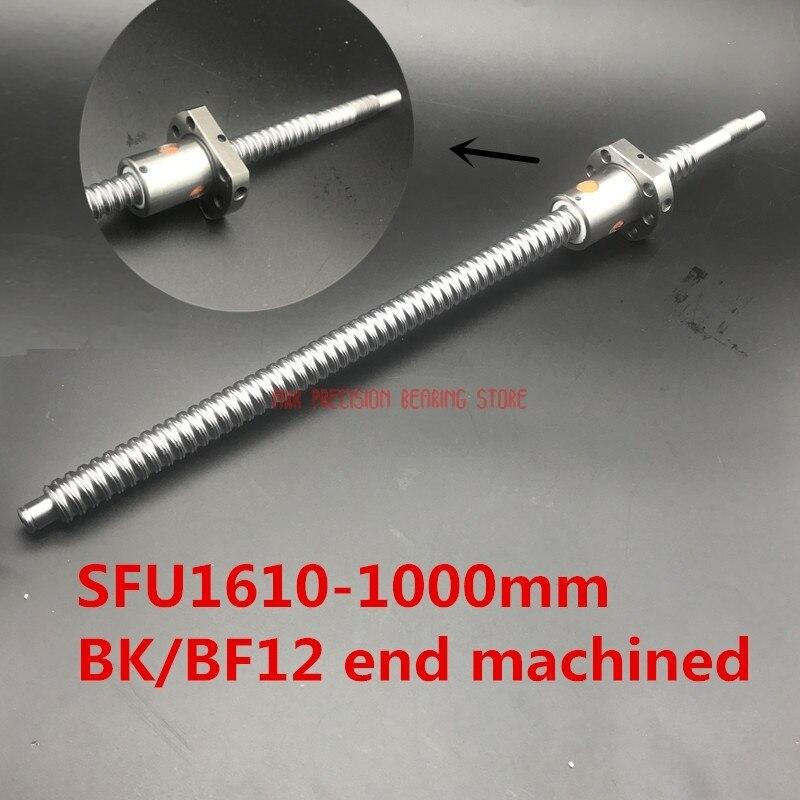 2019 réel Rail linéaire AXK 16mm Sfu1610 1000mm vis à billes roulée vis à billes 1 pc L Bk/bf12 usiné avec 1605 pièces de CNC à écrou à billes