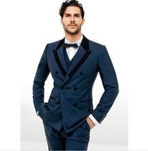 New Arrival Custom Made Fashion Blue Men Suit Double Breasted Traje De Hombre Casual Slim Men