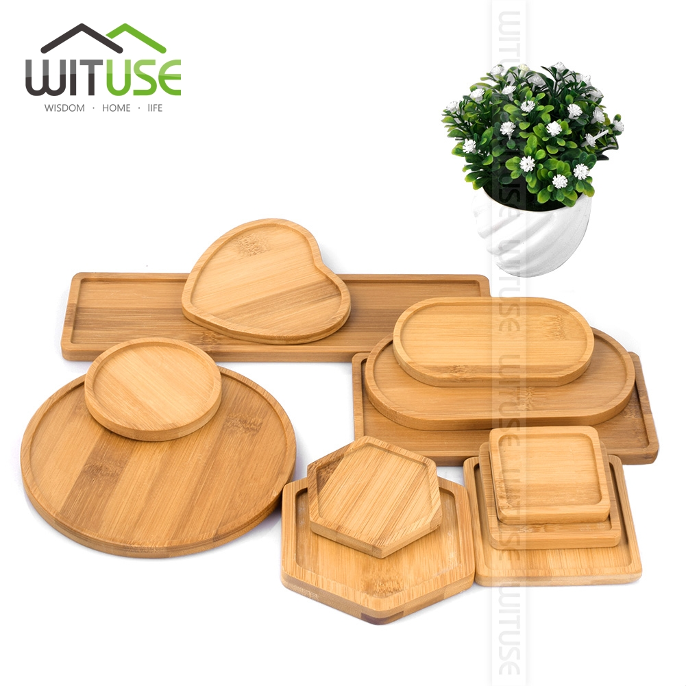 WITUSE Bowls-Plates Trays-Base Crafts Garden-Decor Bamboo Round Succulents Stander