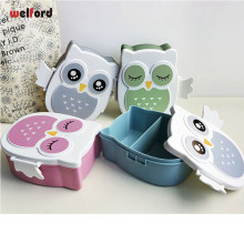 Eco-Friendly Cute Owl Microwave Plastic Lunch Box Meal Prep Containers With Compartments Lunch Box For Kids Snack Bento Box(China)