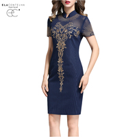 ElaCentelha Women Dress Summer Style Chic Embroidery Dresses Vintage Stand Collar Short Sleeve Striped Pencil Dress