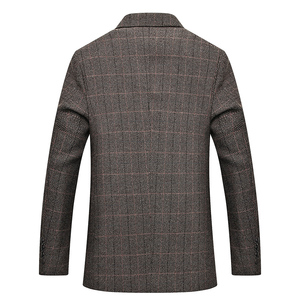 Image 2 - Mwxsd brand Mens Plaid Wool Blazer jacket Men Fashion Slim fit suit  jacket homme Casual male blazer Suit Jacket masculino