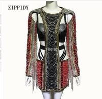 Sparkly Black Red Rhinestones Dress Sexy Stage Wear Chains Design Crystals Costume Female Singer Performance Outfit