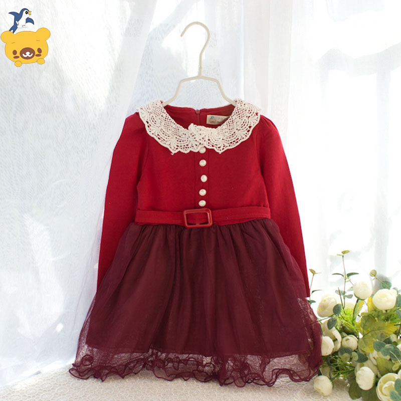 new  autumn baby girls long sleeve dress cres neck  kids clothes  princess lace dress  children clothing