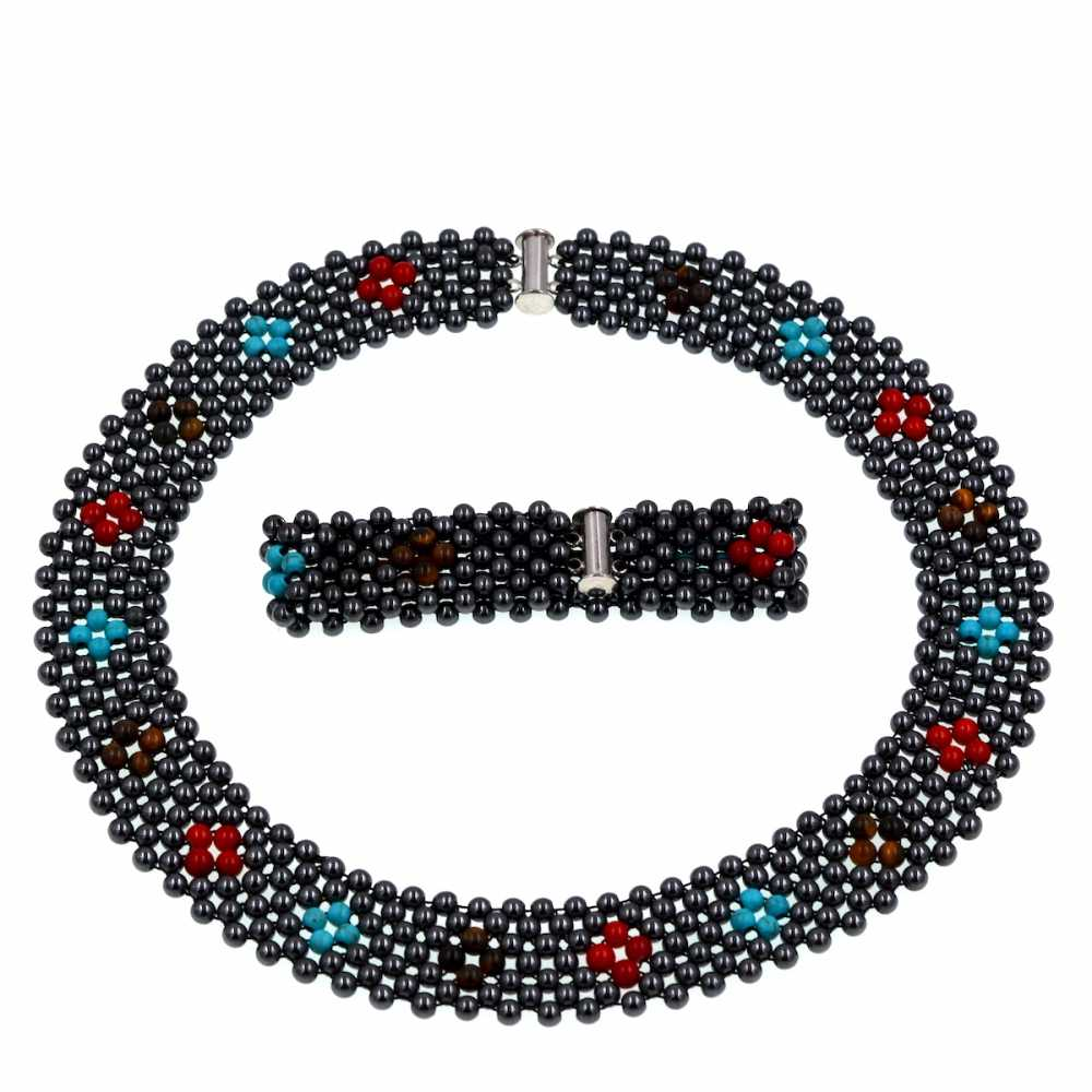 2018 Europe Brand Luxury New Design Hematite Stone Beads Woven Choker Necklace Jewelry Women Gift Party